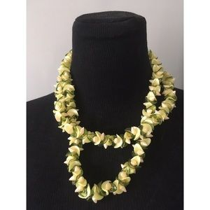 VTG 1970s Shell Floral OOAK Runway Beach Necklace